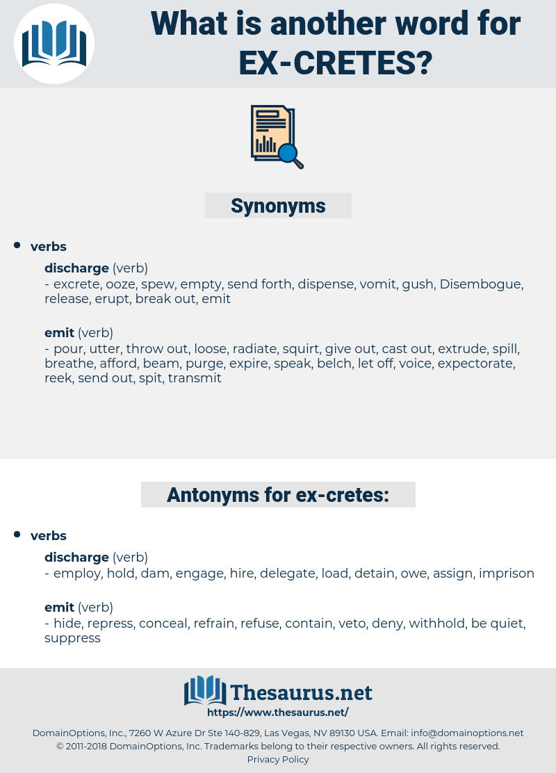 ex-cretes, synonym ex-cretes, another word for ex-cretes, words like ex-cretes, thesaurus ex-cretes