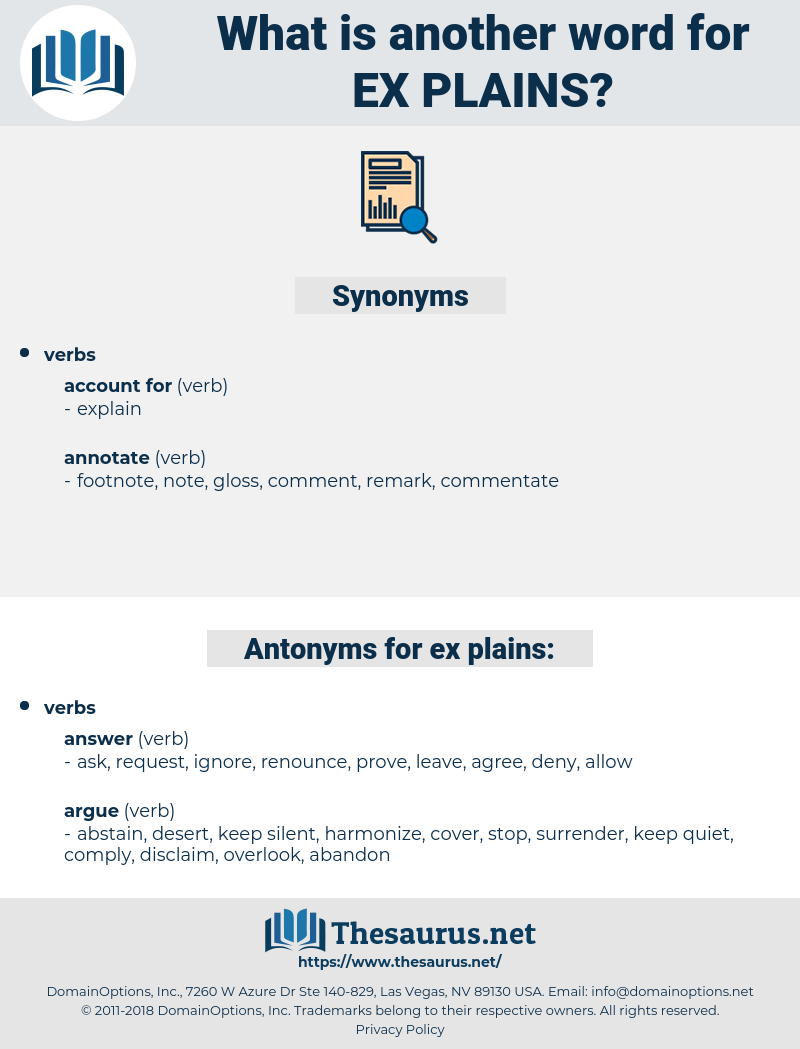 ex-plains, synonym ex-plains, another word for ex-plains, words like ex-plains, thesaurus ex-plains