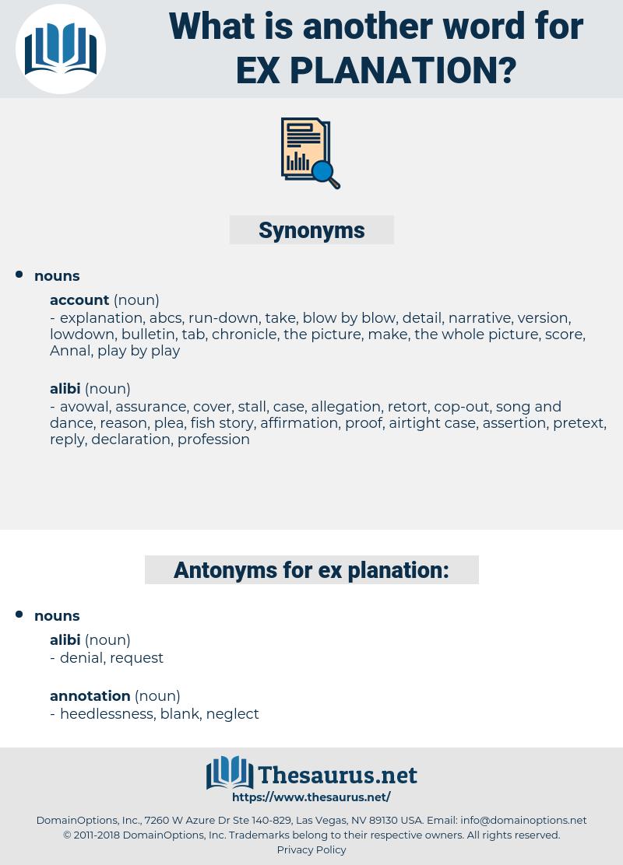ex planation, synonym ex planation, another word for ex planation, words like ex planation, thesaurus ex planation