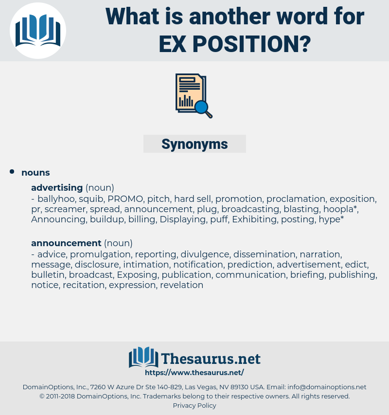 ex position, synonym ex position, another word for ex position, words like ex position, thesaurus ex position