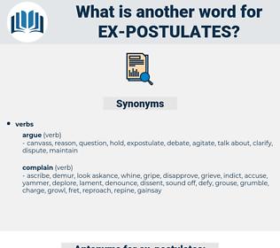 ex-postulates, synonym ex-postulates, another word for ex-postulates, words like ex-postulates, thesaurus ex-postulates