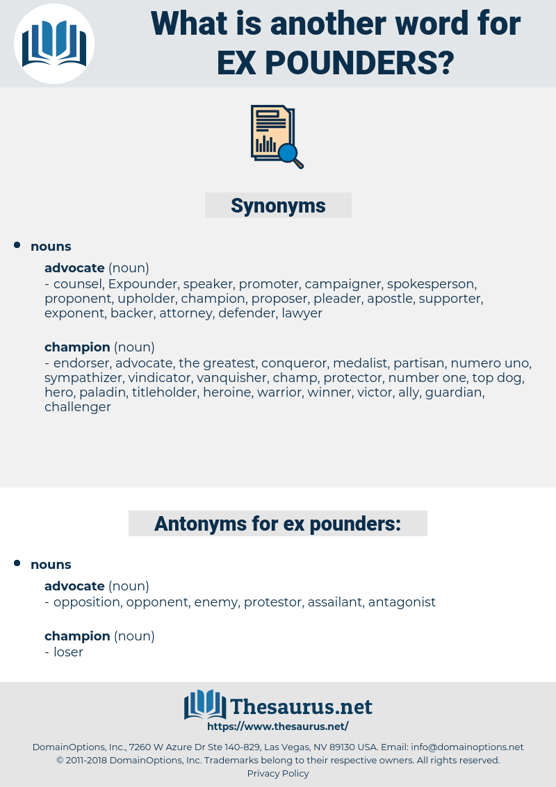 ex pounders, synonym ex pounders, another word for ex pounders, words like ex pounders, thesaurus ex pounders