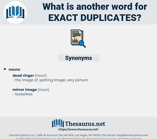 exact duplicates, synonym exact duplicates, another word for exact duplicates, words like exact duplicates, thesaurus exact duplicates