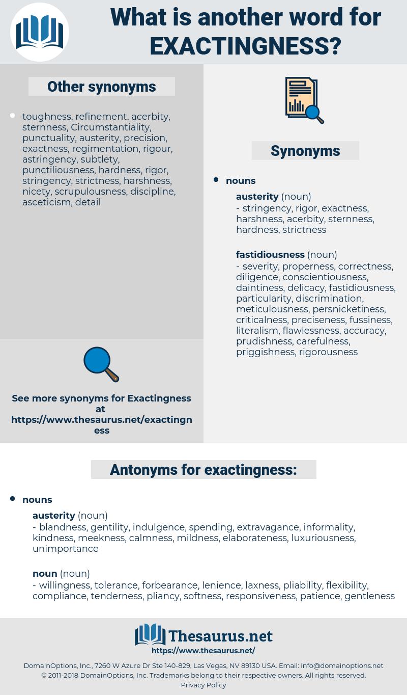 exactingness, synonym exactingness, another word for exactingness, words like exactingness, thesaurus exactingness