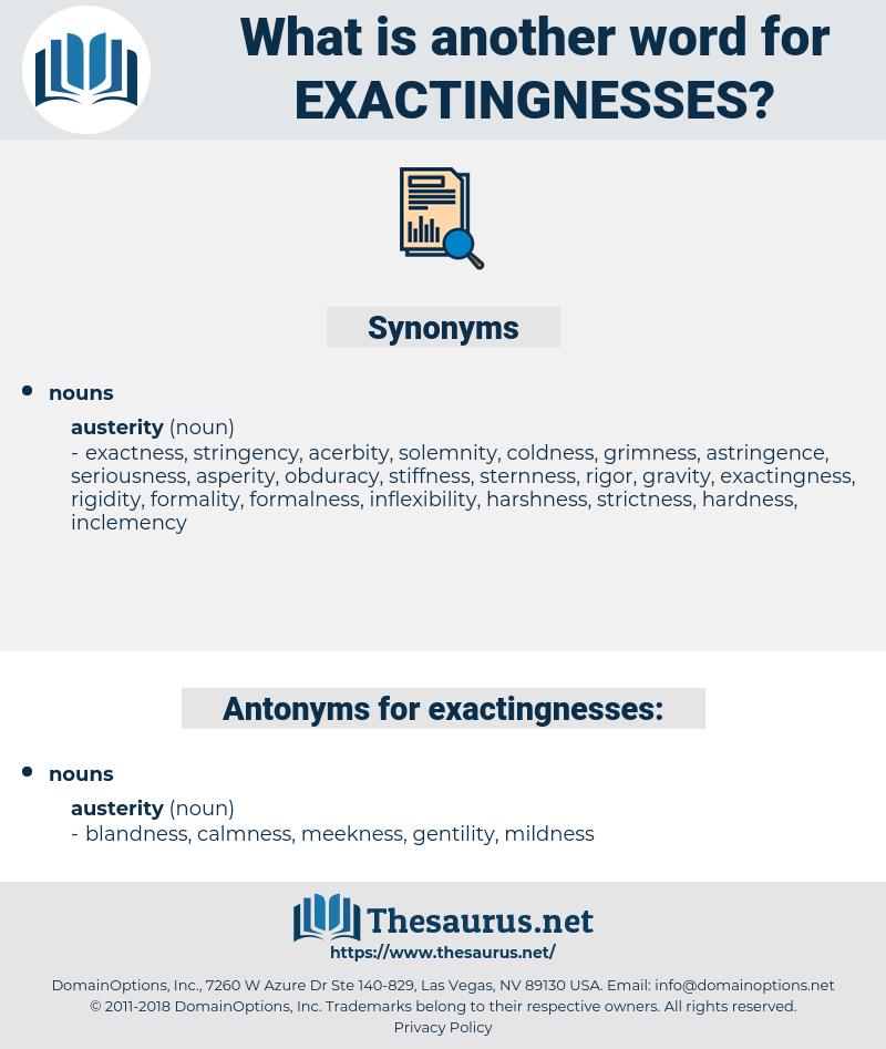 exactingnesses, synonym exactingnesses, another word for exactingnesses, words like exactingnesses, thesaurus exactingnesses