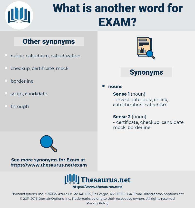 exam, synonym exam, another word for exam, words like exam, thesaurus exam