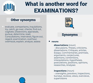 examinations, synonym examinations, another word for examinations, words like examinations, thesaurus examinations