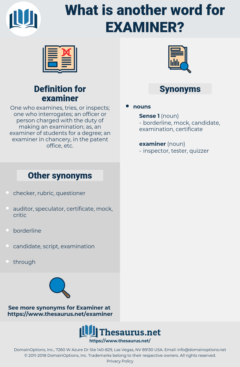 examiner, synonym examiner, another word for examiner, words like examiner, thesaurus examiner