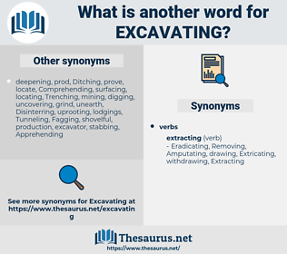 Excavating, synonym Excavating, another word for Excavating, words like Excavating, thesaurus Excavating