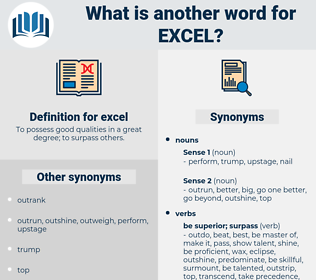 excel, synonym excel, another word for excel, words like excel, thesaurus excel