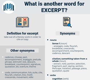 excerpt, synonym excerpt, another word for excerpt, words like excerpt, thesaurus excerpt