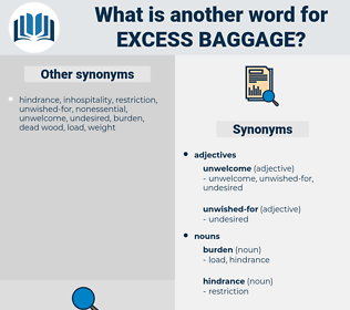 excess baggage, synonym excess baggage, another word for excess baggage, words like excess baggage, thesaurus excess baggage
