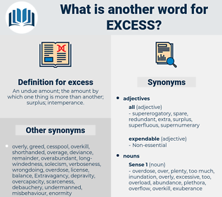 excess, synonym excess, another word for excess, words like excess, thesaurus excess