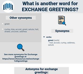 exchange greetings, synonym exchange greetings, another word for exchange greetings, words like exchange greetings, thesaurus exchange greetings