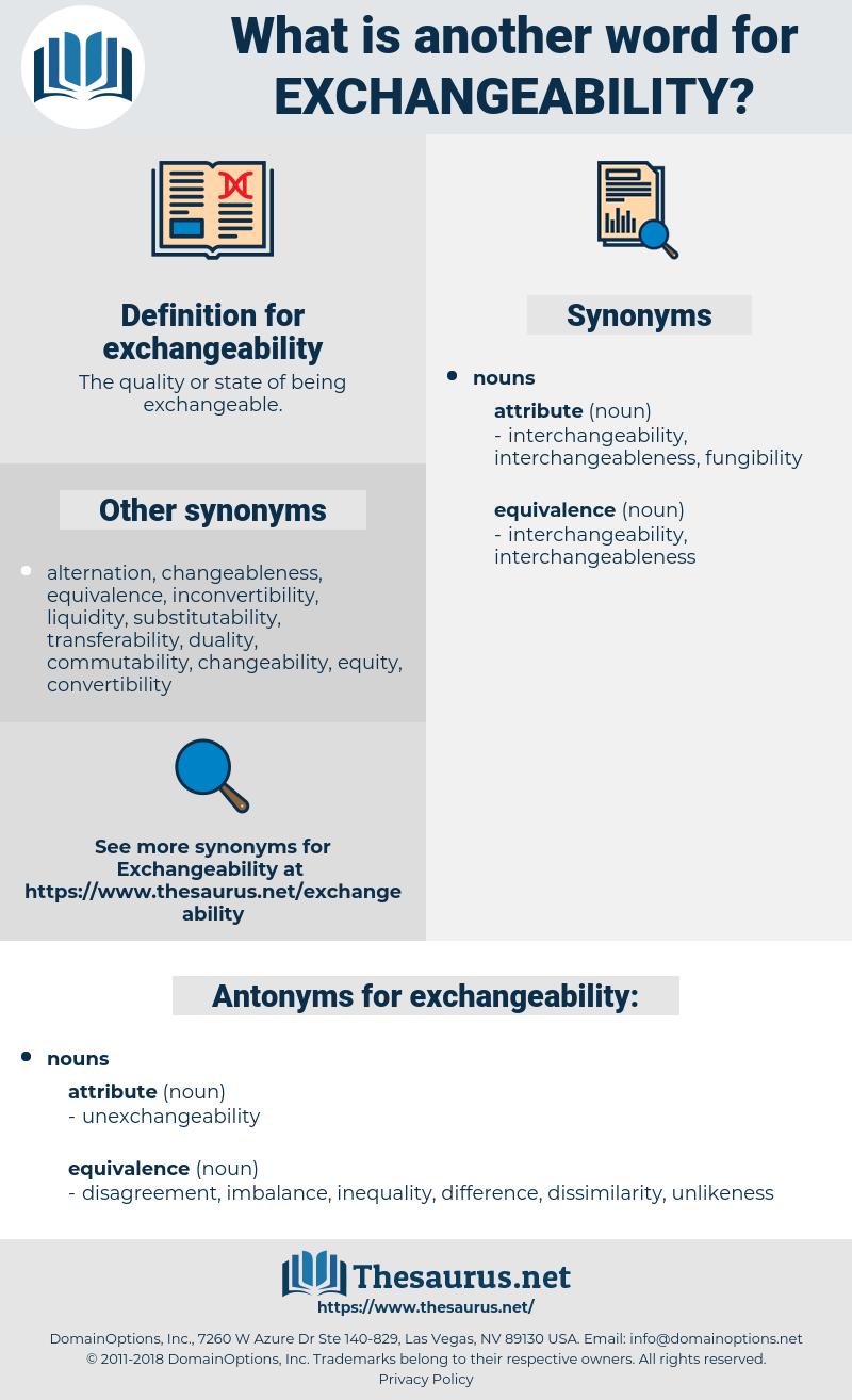 exchangeability, synonym exchangeability, another word for exchangeability, words like exchangeability, thesaurus exchangeability