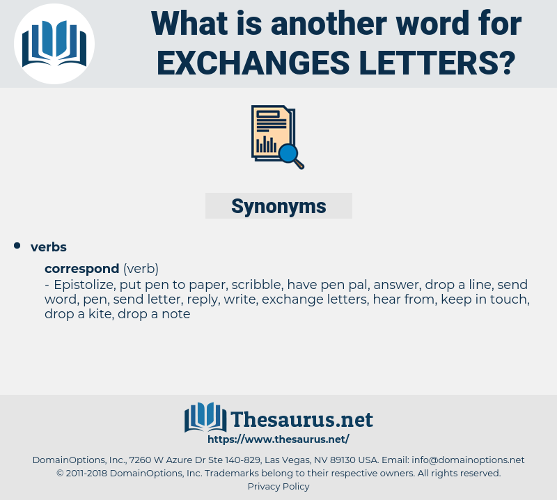 exchanges letters, synonym exchanges letters, another word for exchanges letters, words like exchanges letters, thesaurus exchanges letters