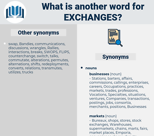 exchanges, synonym exchanges, another word for exchanges, words like exchanges, thesaurus exchanges
