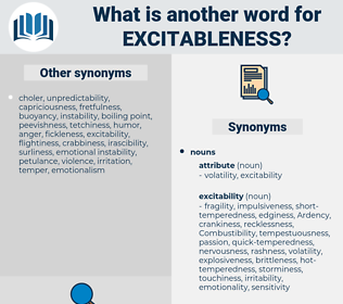 excitableness, synonym excitableness, another word for excitableness, words like excitableness, thesaurus excitableness