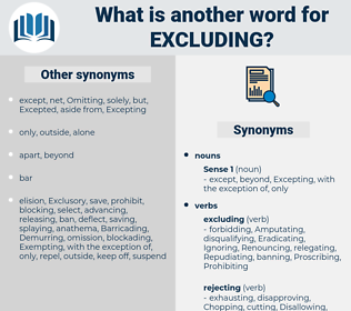 Excluding, synonym Excluding, another word for Excluding, words like Excluding, thesaurus Excluding