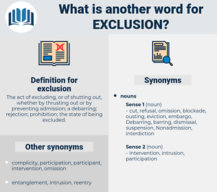 exclusion, synonym exclusion, another word for exclusion, words like exclusion, thesaurus exclusion