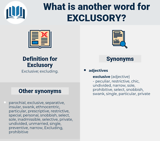 Exclusory, synonym Exclusory, another word for Exclusory, words like Exclusory, thesaurus Exclusory