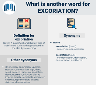 excoriation, synonym excoriation, another word for excoriation, words like excoriation, thesaurus excoriation