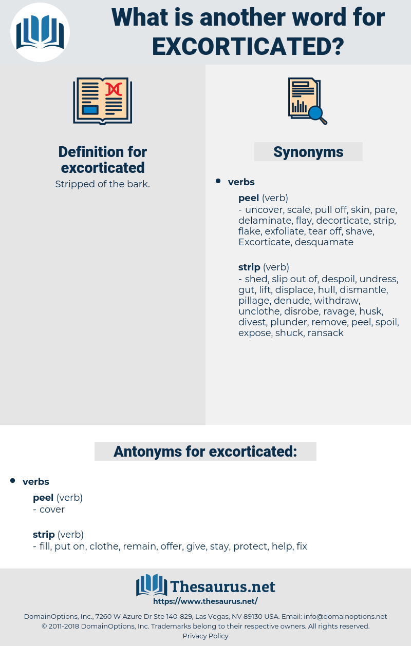 excorticated, synonym excorticated, another word for excorticated, words like excorticated, thesaurus excorticated