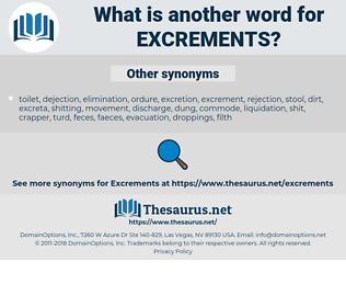 excrements, synonym excrements, another word for excrements, words like excrements, thesaurus excrements