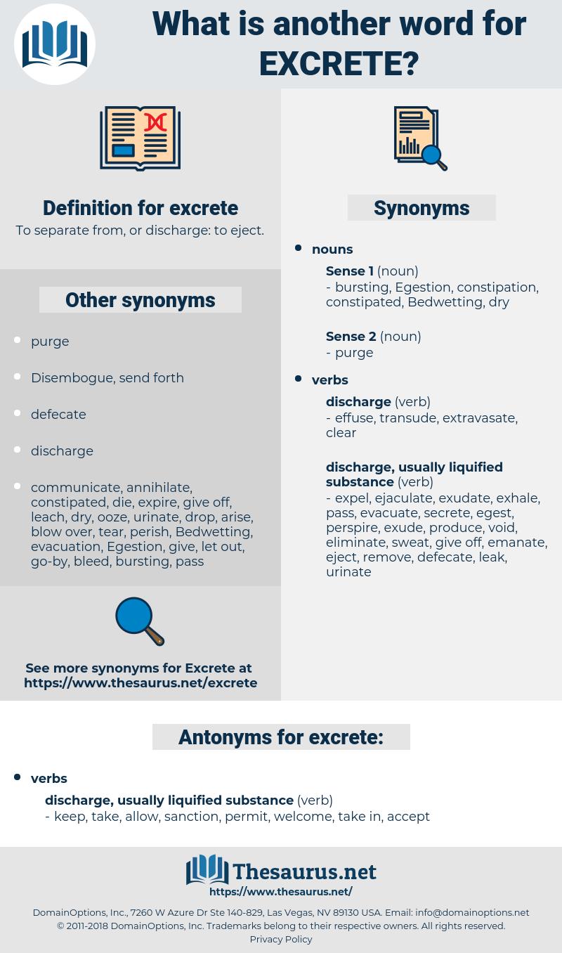 excrete, synonym excrete, another word for excrete, words like excrete, thesaurus excrete