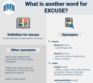 excuse, synonym excuse, another word for excuse, words like excuse, thesaurus excuse