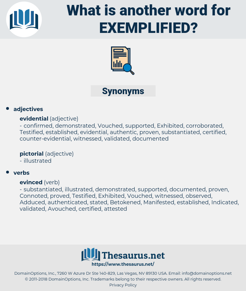 Exemplified, synonym Exemplified, another word for Exemplified, words like Exemplified, thesaurus Exemplified
