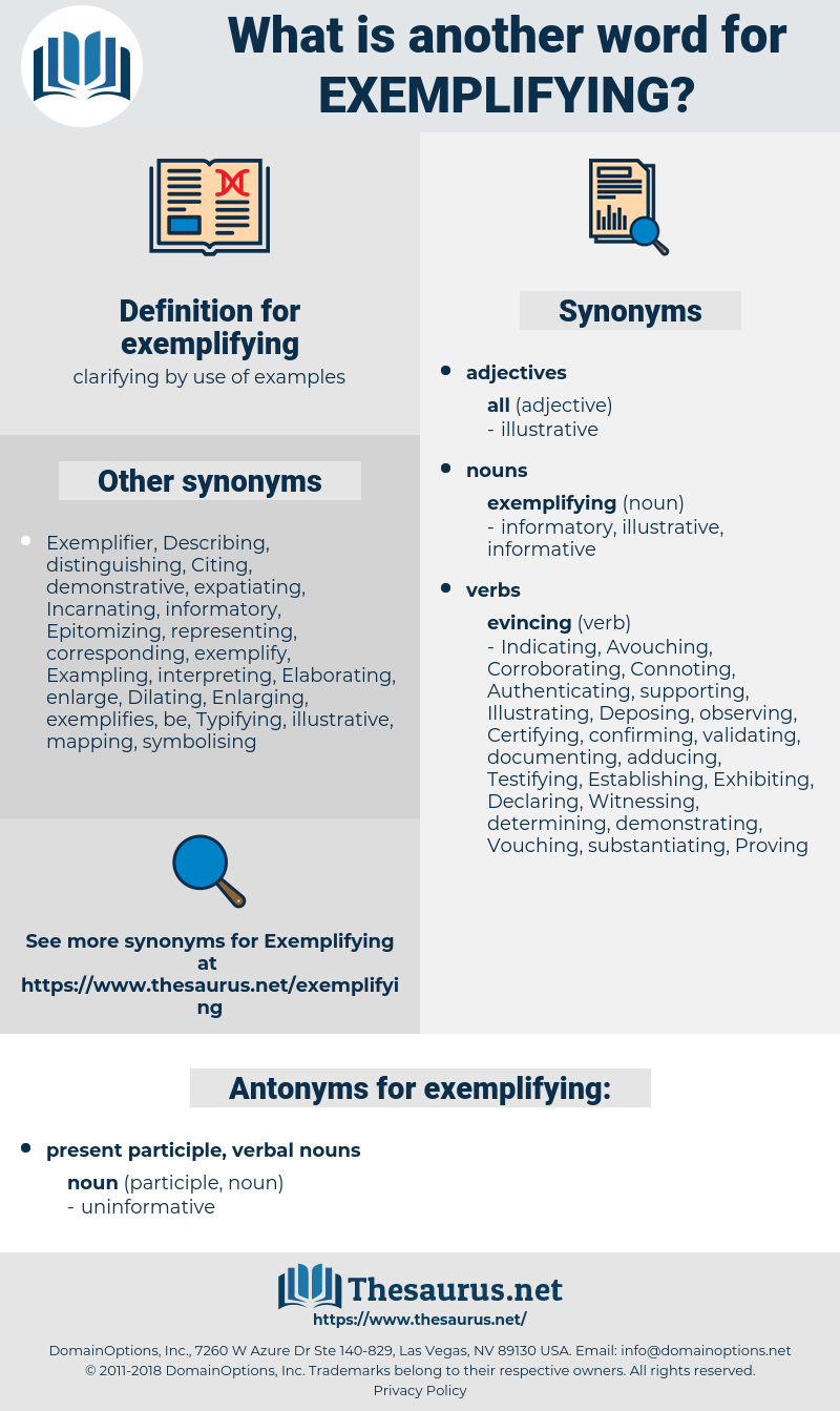 exemplifying, synonym exemplifying, another word for exemplifying, words like exemplifying, thesaurus exemplifying
