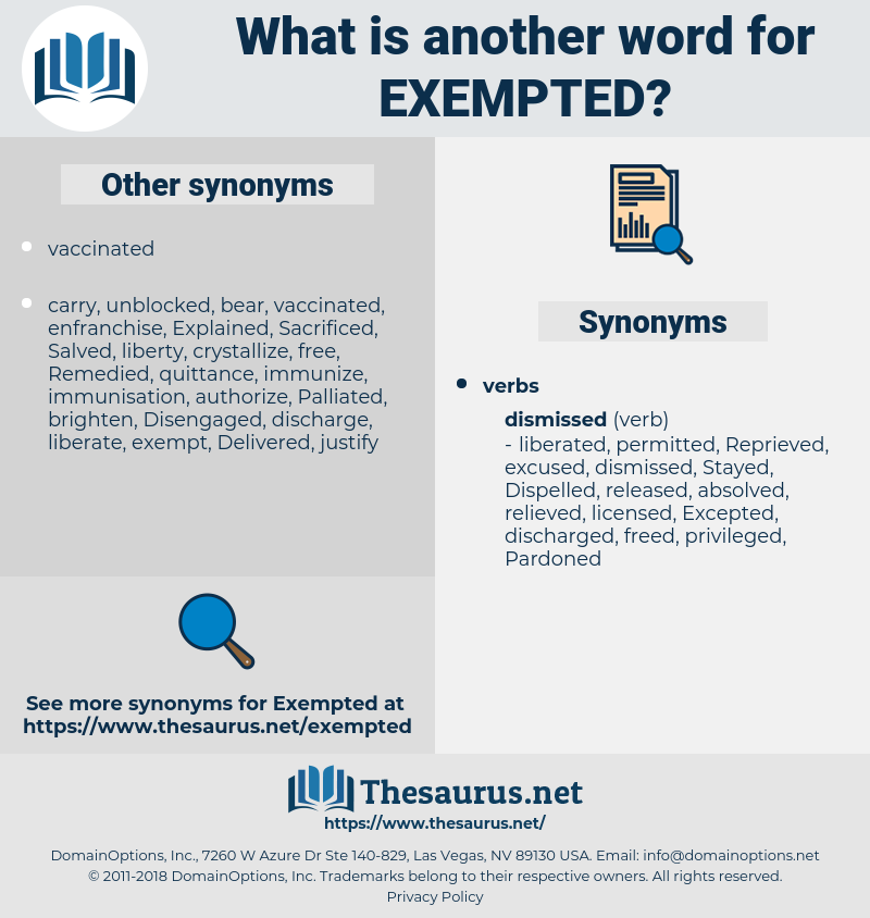 Exempted, synonym Exempted, another word for Exempted, words like Exempted, thesaurus Exempted