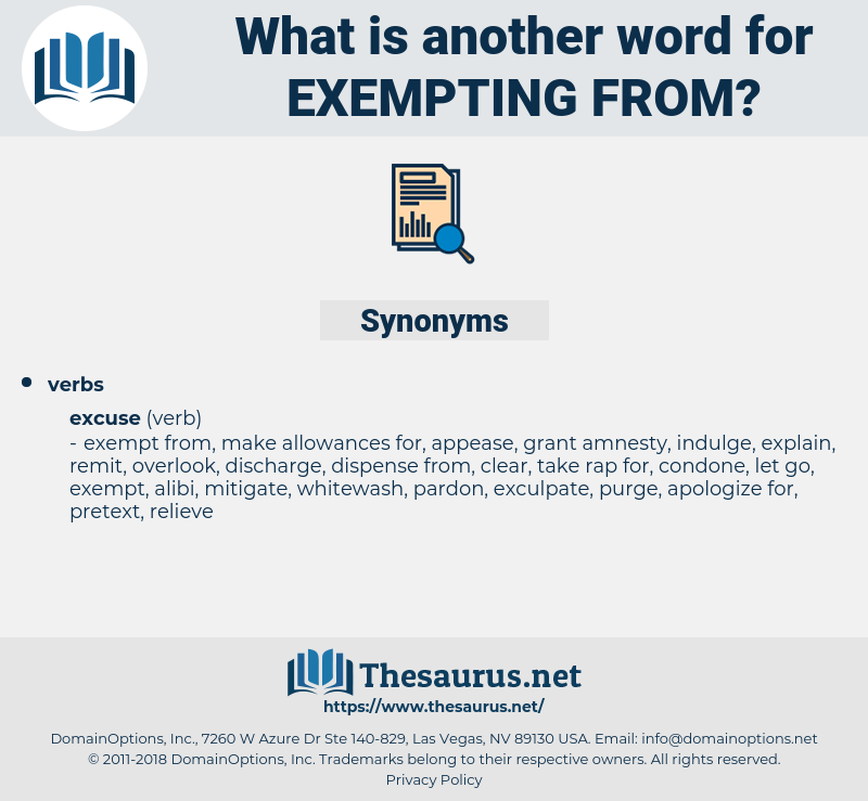 exempting from, synonym exempting from, another word for exempting from, words like exempting from, thesaurus exempting from