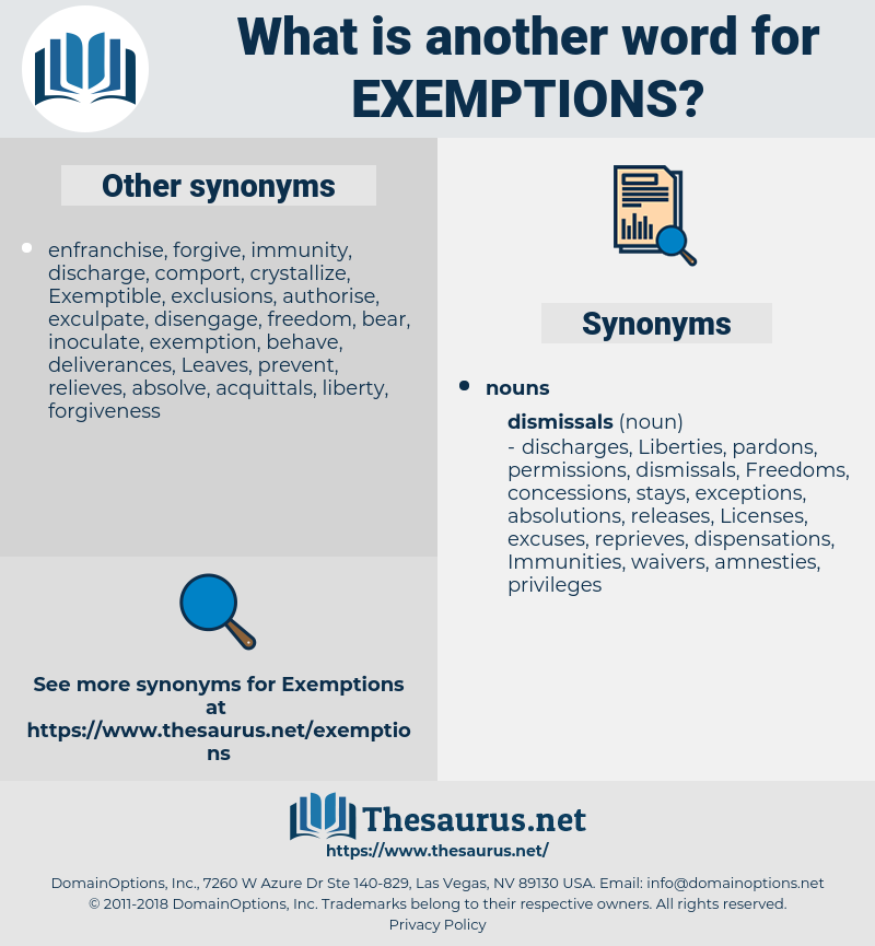 exemptions, synonym exemptions, another word for exemptions, words like exemptions, thesaurus exemptions