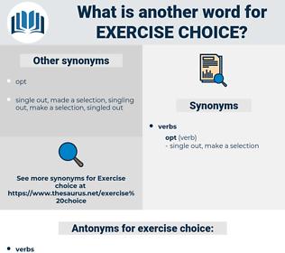 exercise choice, synonym exercise choice, another word for exercise choice, words like exercise choice, thesaurus exercise choice