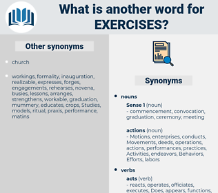 Exercises, synonym Exercises, another word for Exercises, words like Exercises, thesaurus Exercises