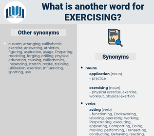 exercising, synonym exercising, another word for exercising, words like exercising, thesaurus exercising