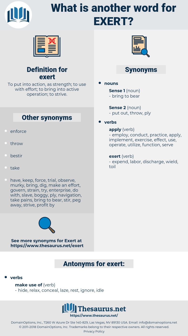 exert, synonym exert, another word for exert, words like exert, thesaurus exert
