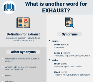 exhaust, synonym exhaust, another word for exhaust, words like exhaust, thesaurus exhaust