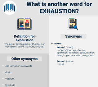 exhaustion, synonym exhaustion, another word for exhaustion, words like exhaustion, thesaurus exhaustion