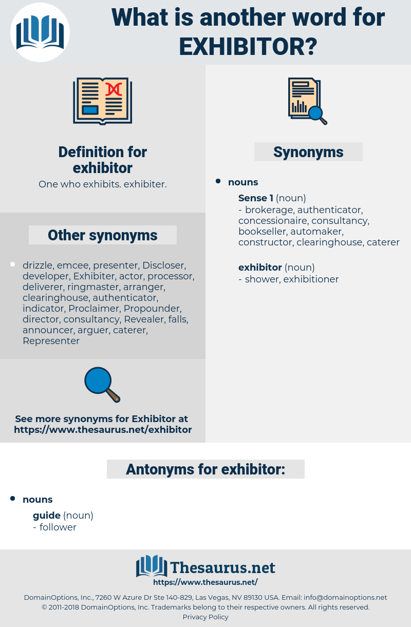 exhibitor, synonym exhibitor, another word for exhibitor, words like exhibitor, thesaurus exhibitor