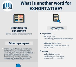 exhortative, synonym exhortative, another word for exhortative, words like exhortative, thesaurus exhortative