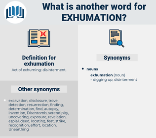 exhumation, synonym exhumation, another word for exhumation, words like exhumation, thesaurus exhumation