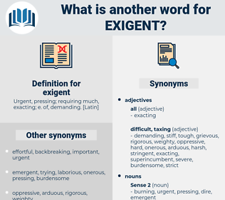 exigent, synonym exigent, another word for exigent, words like exigent, thesaurus exigent