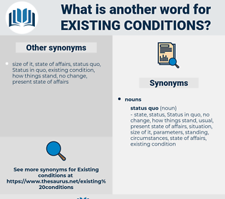 existing conditions, synonym existing conditions, another word for existing conditions, words like existing conditions, thesaurus existing conditions
