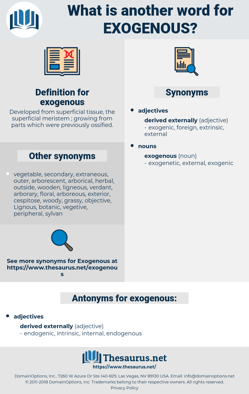 exogenous, synonym exogenous, another word for exogenous, words like exogenous, thesaurus exogenous