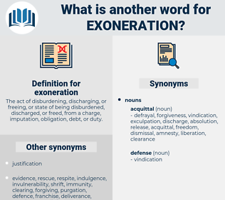 exoneration, synonym exoneration, another word for exoneration, words like exoneration, thesaurus exoneration