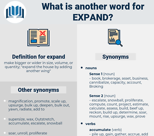 expand, synonym expand, another word for expand, words like expand, thesaurus expand