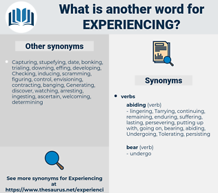 Experiencing, synonym Experiencing, another word for Experiencing, words like Experiencing, thesaurus Experiencing